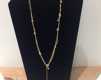 Long Lariat Black Pearl 14 k gold plated Necklace