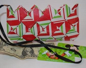 Stripe Candy Wrapper Clutch Purse Red/ Green / White