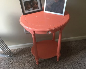Shabby Chic Salmon hand painted 1 drawer nightstand, distressed