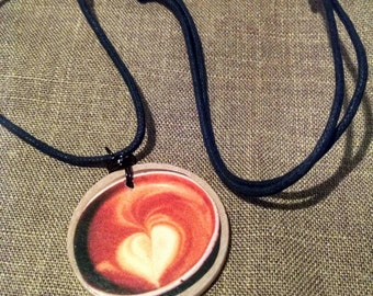 Latte Art Wood Pendant