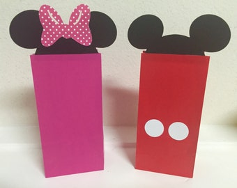 Mickey and Minnie Mouse Loot Favor Goodie Bags Birthday Party Container Supplies