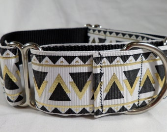 Greyhound Martingale Collar With Matching Leash: Aztec Pattern