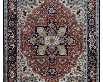 Orange, Beige and Black Large Heriz Oriental Rug 9'X12'1