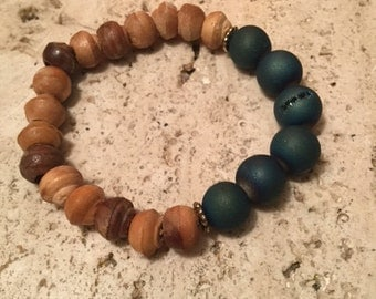 Blue Drusy Agate Beads + Wood Beads