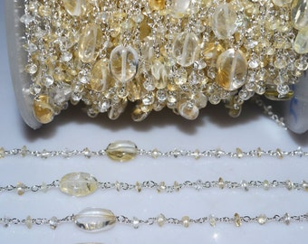 Beautiful Citrine Rosary Beaded Chain-Citrine Faceted Silver Wire Wrapped Beaded Chain , 3 mm - RB5149