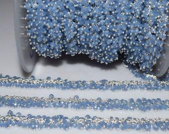 Hydro Quartz Turkey Blue Chalcedony Faceted Chain-Chalcedony Dangling Chain Grape Chain Angoori Cluster Chain,2.5-3 mm,RB5207