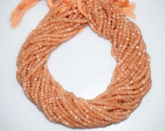 AAA Quality Peach Moonstone Rondelle Beads 13 Inch Strand ,Peach Moonstone Faceted Rondelle Beads , 4 mm - MC400