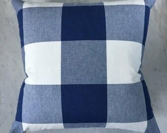 20x20 Cadet Blue and White Buffalo Check Plaid Zipper Plaid Pillow Cover