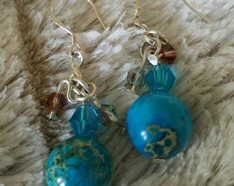 Blue Earth Aqua Earrings.