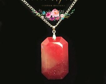 Gem Necklace-Pink Gem Necklace-Resin Necklace