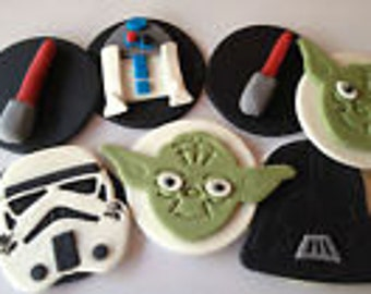 6 Edible Cake Toppers cupcake decorations Star Wars discs