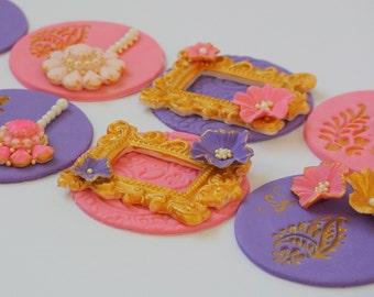 Elegant Custom-made Henna / Mehendi Wedding Cupcake toppers