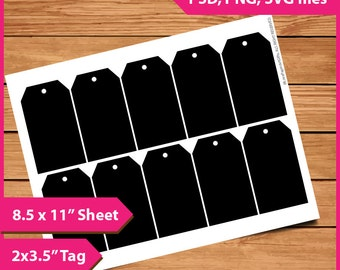 "Middle Tag Template Instant Download PSD, PNG and SVG Formats  8.5x11"" Digital  Photoshop Cut Print Your Own Diy Printable blank template"