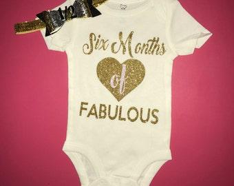 Baby girl Six months of fabulous baby girl half birthday onesie