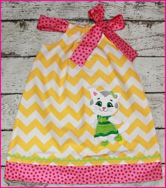 Super Cute Katerina Kitty Cat Pillowcase style dress Yellow Chevron and pink polka dot