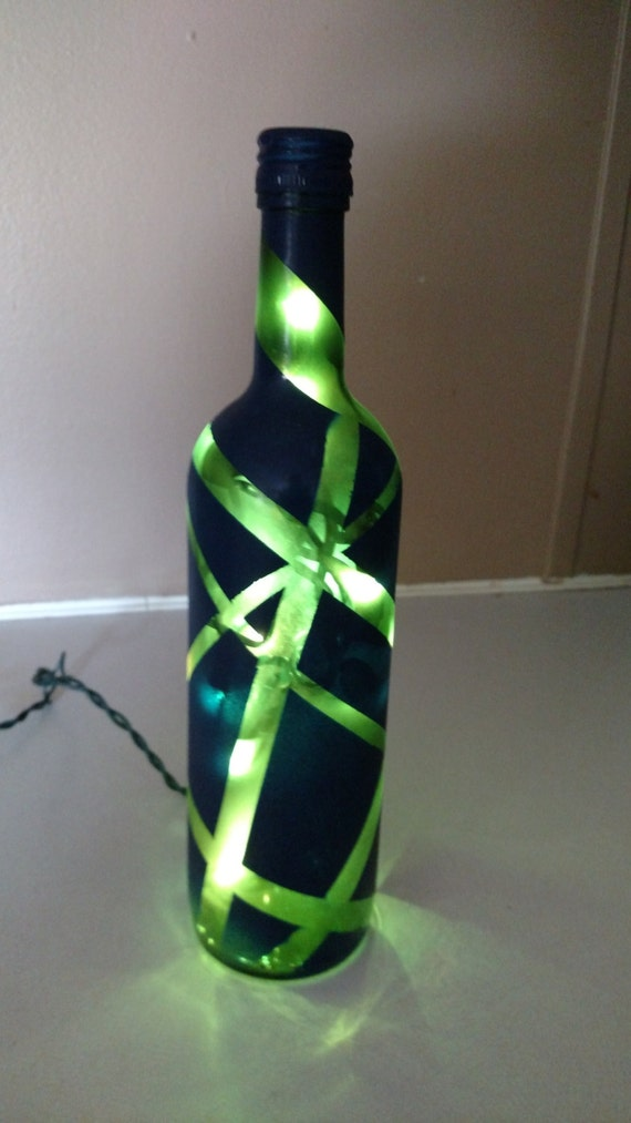Navy Blue and Green Frosted Geometric Lighted Bottle