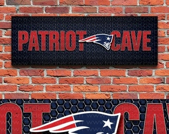 """New England Patriots Cave - NFL Mancave - 24 x 8"""" Wood Sign - Perfect Father's Day - Perfect Dad Gift - Man Art - Football Fan - Sports Bar"""