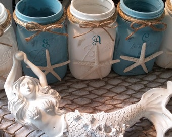 Beach Canning Jars with Starfish-Pretty Blue and White