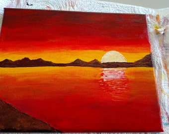 Ocean Sunset with mountains