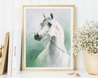 White Horse print, horse art, watercolor horse, horse printable, horse decor, white horse, wall art, horse painting, watercolor print poster