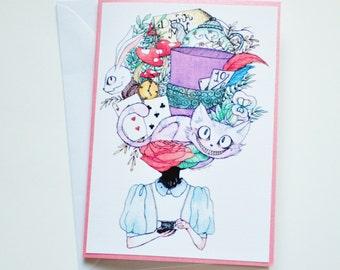Alice In Wonderland Handmade Greetings Card - Happy Birthday - Well Done - Thank You - Friend Card - Blank