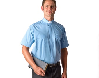 mds 2400  Clergy SS Tab  Sky Blue Shirt