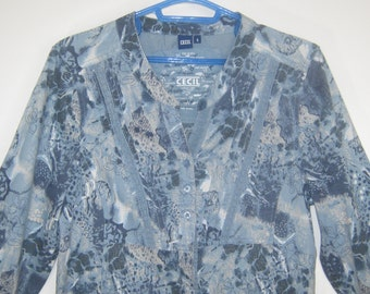 Vintage 70's Style Bohemian Cotton Lace Trimmed Blouse, Small