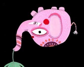 Delhi painting on paper painting gouache illustration of elephant India 21.5 cm x 14 cm