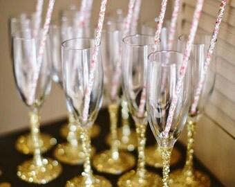 6 Glitter Champagne Glasses