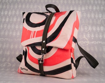 Backpack Bajpai fluo-artwork-painted canvas and natural