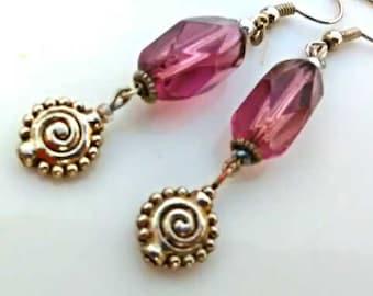 purple Berry Glass Earrings