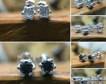 Stud earrings sterling silver and CZ