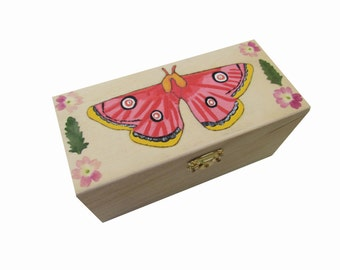 Pink Moth Wood Box Pressed Flowers