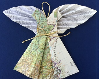 Map Angel of France with Book Page Wings - Modern Christmas Decor Upcycled Repurposed Books Maps- Prayer Angels