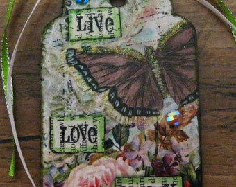 Mixed Media Butterfly and Roses Tag