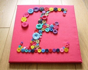 Letter E Pink Canvas with Multicoloured Buttons