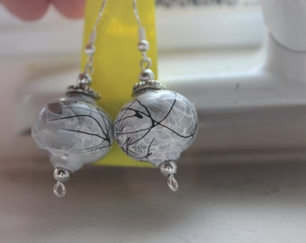 Silver Splattered Earrings