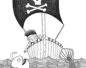 Pirate and Sea Monster - Giclée Archival Print