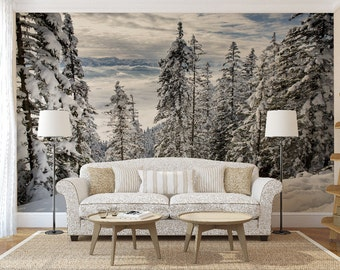 Winter in the Mountain Wall Mural, Self Adhesive Photo Mural