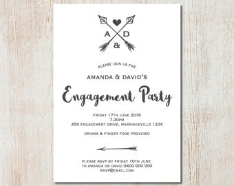 Monogrammed Engagement Party Invitation - DIGITAL FILE