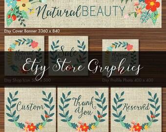 Premade Etsy Store Graphics Set - Green Wreath Flower Burlap Texture Natural  - Avatar, Banner, Shop Icon, Profile, DIY Graphic Design