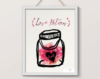 Displays Love Potion, typography and illustration, love potion, romantic poster