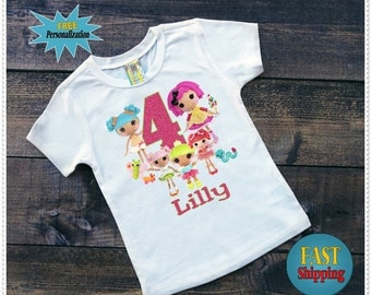 LaLa Loopsy Personalized Birthday Tee Shirt or Onezee; Onezee size 324 Month;Tee Shirt size 2T and Up: FREE Personalization