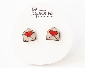 Love Letter Earrings, cute valentines earrings, envelope studs, heart envelopes, air mail earrings