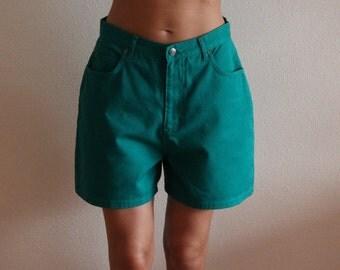 Women's Green Shorts Vintage 90's Denim Shorts Green Jeans Shorts High Waisted Shorts Medium Size