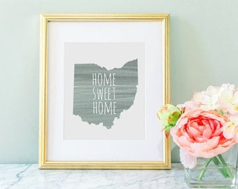 Ohio Home Sweet Home Gray Digital Download Wall Art Print