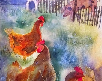 Original Watercolour Painting of chickens and pig by Shari Hills
