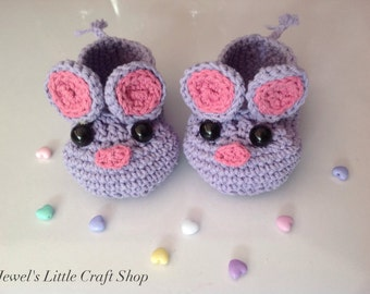 Adorable Violet Mouse Baby Booties