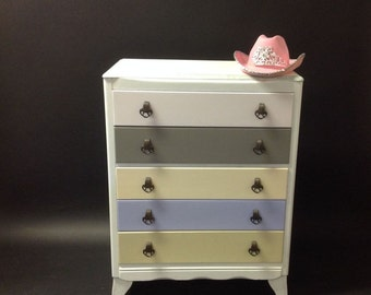 Over2hills Upcycled Multicoloured Pastel Drawers