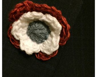 Linen Crocheted Lapel Flower